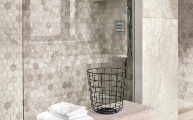 Nice bathroom in modern style with tiled walls